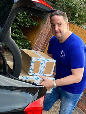 Carl James as Volunteer Driver from SanCloud Delivering 3D Printed Face Shields to NHS Provisions